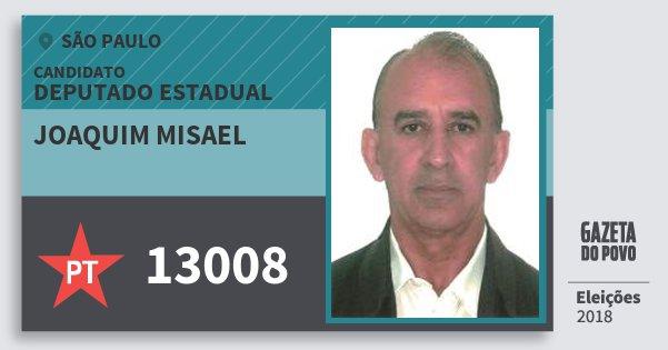 Santinho Joaquim Misael 13008 (PT) Deputado Estadual | São Paulo | Eleições 2018