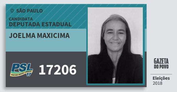 Santinho Joelma Maxicima 17206 (PSL) Deputada Estadual | São Paulo | Eleições 2018