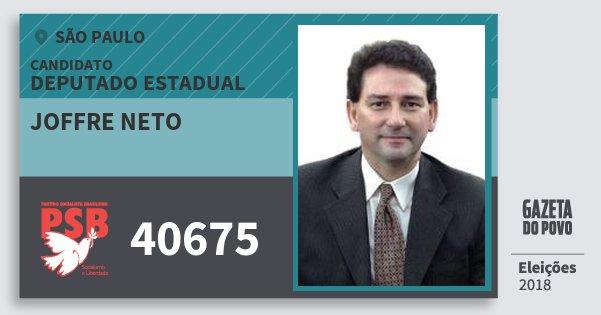 Santinho Joffre Neto 40675 (PSB) Deputado Estadual | São Paulo | Eleições 2018