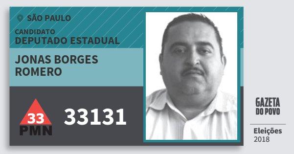 Santinho Jonas Borges Romero 33131 (PMN) Deputado Estadual   São Paulo   Eleições 2018