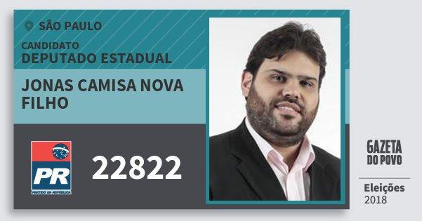 Santinho Jonas Camisa Nova Filho 22822 (PR) Deputado Estadual | São Paulo | Eleições 2018