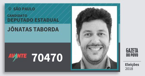 Santinho Jônatas Taborda 70470 (AVANTE) Deputado Estadual | São Paulo | Eleições 2018