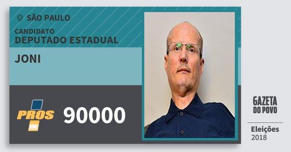 Santinho Joni 90000 (PROS) Deputado Estadual | São Paulo | Eleições 2018