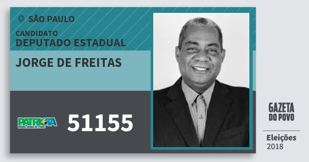 Santinho Jorge de Freitas 51155 (PATRI) Deputado Estadual | São Paulo | Eleições 2018