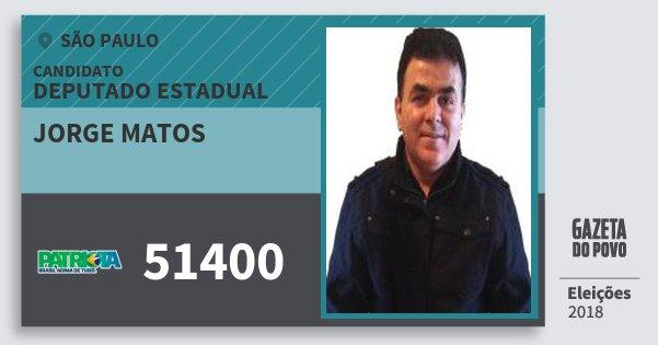 Santinho Jorge Matos 51400 (PATRI) Deputado Estadual | São Paulo | Eleições 2018