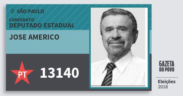 Santinho Jose Americo 13140 (PT) Deputado Estadual | São Paulo | Eleições 2018
