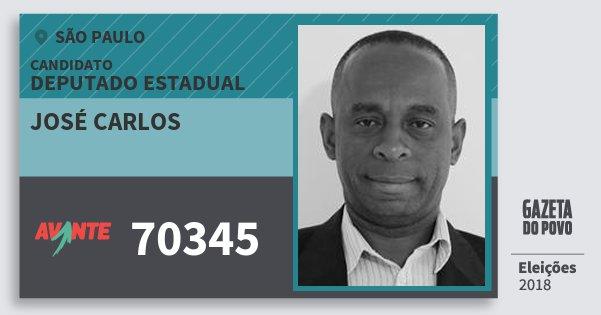 Santinho José Carlos 70345 (AVANTE) Deputado Estadual | São Paulo | Eleições 2018