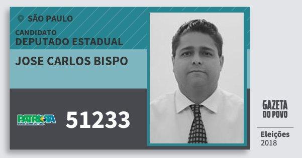 Santinho Jose Carlos Bispo 51233 (PATRI) Deputado Estadual | São Paulo | Eleições 2018