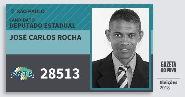 Santinho José Carlos Rocha 28513 (PRTB) Deputado Estadual | São Paulo | Eleições 2018