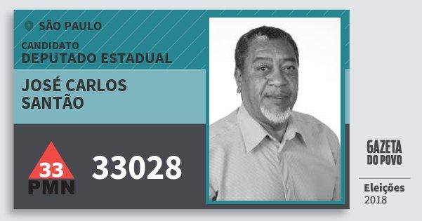 Santinho José Carlos Santão 33028 (PMN) Deputado Estadual | São Paulo | Eleições 2018