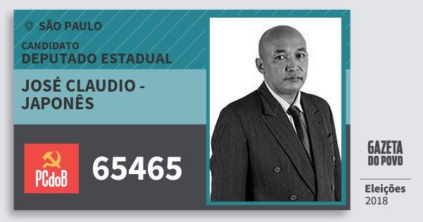 Santinho José Claudio - Japonês 65465 (PC do B) Deputado Estadual | São Paulo | Eleições 2018