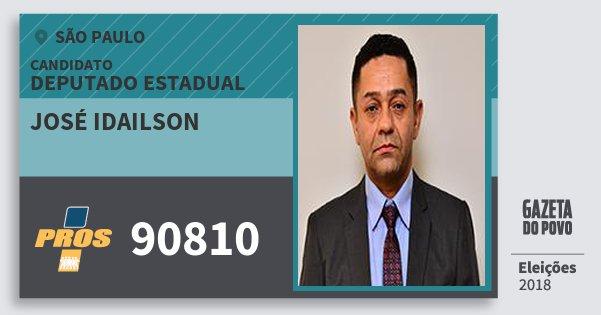 Santinho José Idailson 90810 (PROS) Deputado Estadual | São Paulo | Eleições 2018