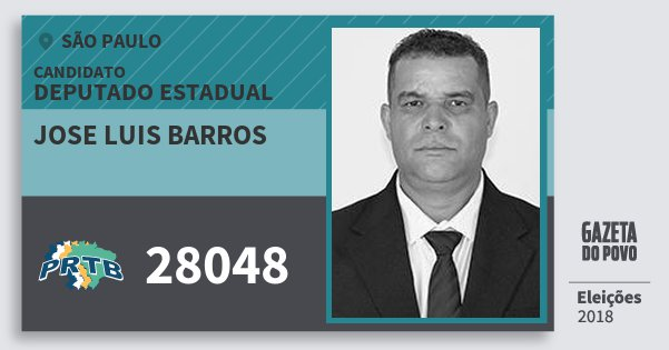 Santinho Jose Luis Barros 28048 (PRTB) Deputado Estadual | São Paulo | Eleições 2018