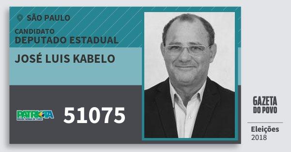 Santinho José Luis Kabelo 51075 (PATRI) Deputado Estadual | São Paulo | Eleições 2018