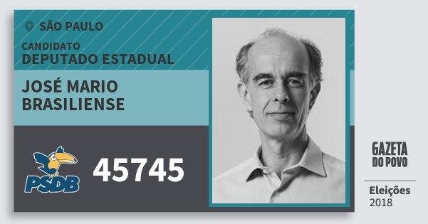 Santinho José Mario Brasiliense 45745 (PSDB) Deputado Estadual | São Paulo | Eleições 2018