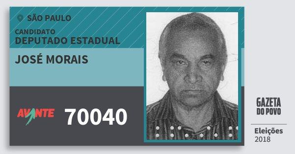 Santinho José Morais 70040 (AVANTE) Deputado Estadual | São Paulo | Eleições 2018