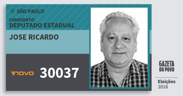 Santinho Jose Ricardo 30037 (NOVO) Deputado Estadual | São Paulo | Eleições 2018