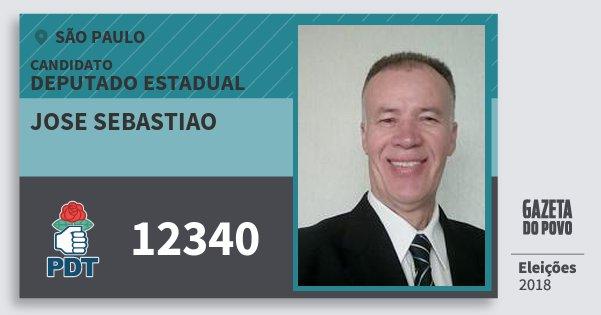 Santinho Jose Sebastiao 12340 (PDT) Deputado Estadual | São Paulo | Eleições 2018