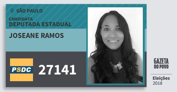 Santinho Joseane Ramos 27141 (DC) Deputada Estadual | São Paulo | Eleições 2018