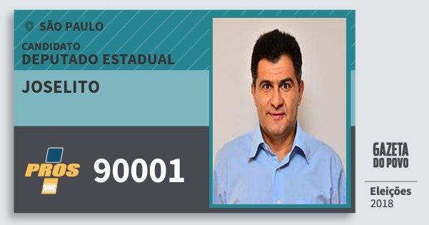Santinho Joselito 90001 (PROS) Deputado Estadual | São Paulo | Eleições 2018