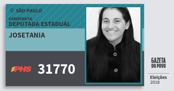 Santinho Josetania 31770 (PHS) Deputada Estadual | São Paulo | Eleições 2018