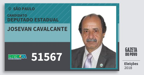 Santinho Josevan Cavalcante 51567 (PATRI) Deputado Estadual | São Paulo | Eleições 2018
