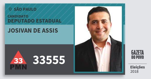 Santinho Josivan de Assis 33555 (PMN) Deputado Estadual | São Paulo | Eleições 2018