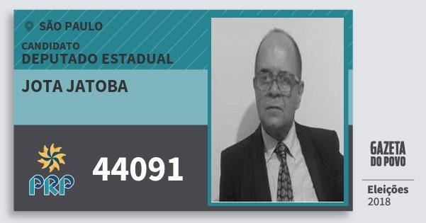 Santinho Jota Jatoba 44091 (PRP) Deputado Estadual | São Paulo | Eleições 2018