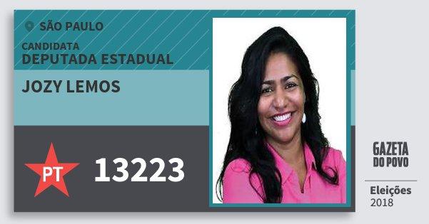 Santinho Jozy Lemos 13223 (PT) Deputada Estadual   São Paulo   Eleições 2018