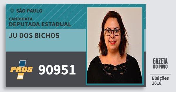 Santinho Ju dos Bichos 90951 (PROS) Deputada Estadual | São Paulo | Eleições 2018