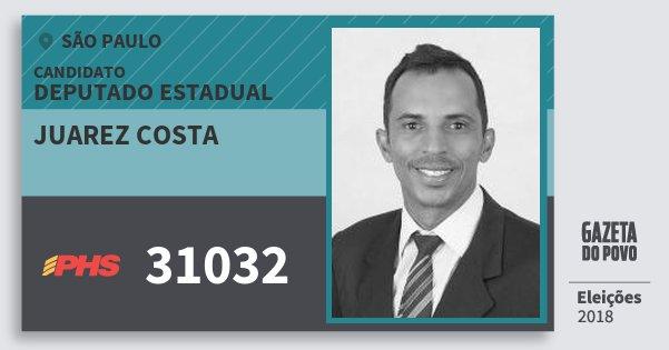 Santinho Juarez Costa 31032 (PHS) Deputado Estadual | São Paulo | Eleições 2018