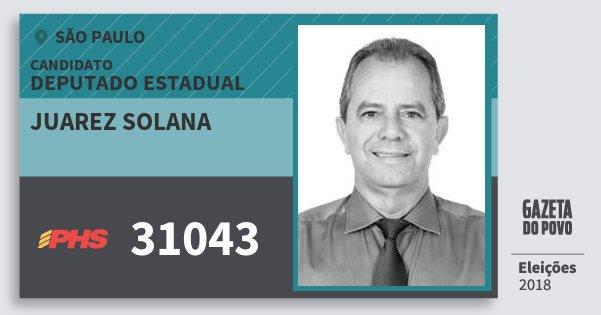 Santinho Juarez Solana 31043 (PHS) Deputado Estadual | São Paulo | Eleições 2018