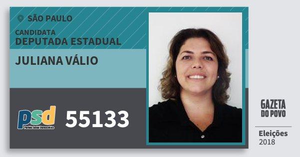 Santinho Juliana Válio 55133 (PSD) Deputada Estadual | São Paulo | Eleições 2018