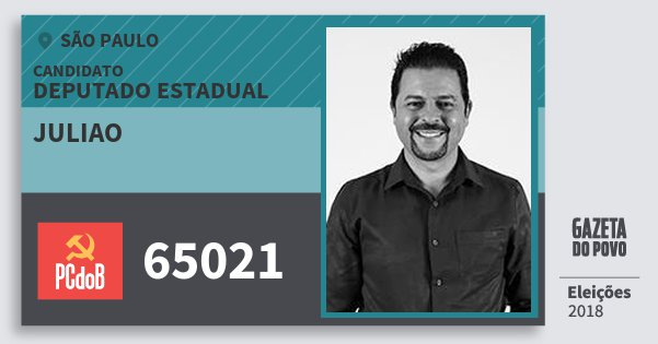 Santinho Juliao 65021 (PC do B) Deputado Estadual | São Paulo | Eleições 2018