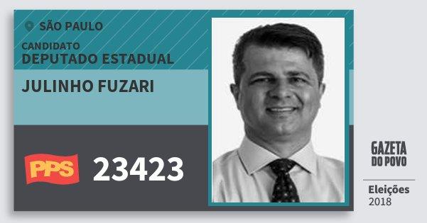 Santinho Julinho Fuzari 23423 (PPS) Deputado Estadual | São Paulo | Eleições 2018