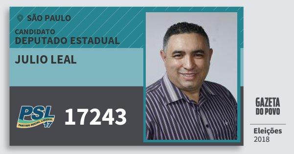 Santinho Julio Leal 17243 (PSL) Deputado Estadual   São Paulo   Eleições 2018