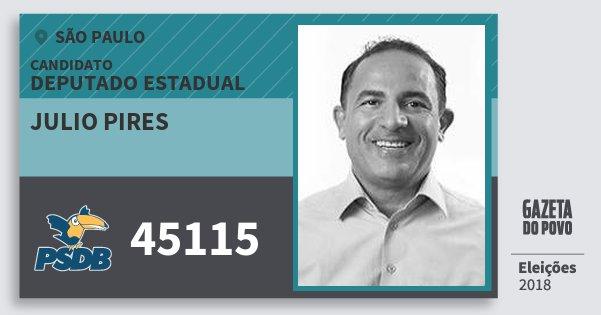 Santinho Julio Pires 45115 (PSDB) Deputado Estadual | São Paulo | Eleições 2018