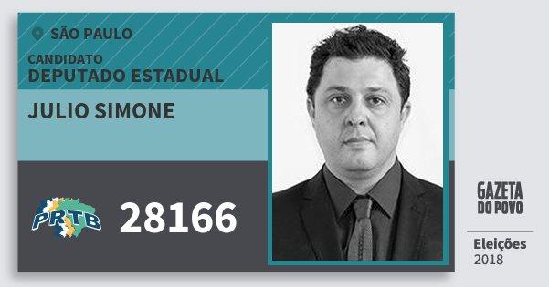 Santinho Julio Simone 28166 (PRTB) Deputado Estadual | São Paulo | Eleições 2018