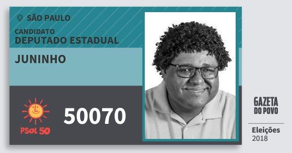 Santinho Juninho 50070 (PSOL) Deputado Estadual | São Paulo | Eleições 2018