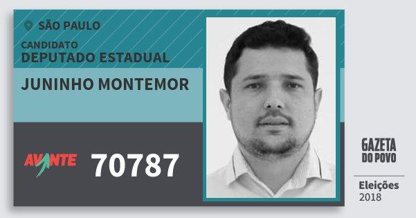 Santinho Juninho Montemor 70787 (AVANTE) Deputado Estadual | São Paulo | Eleições 2018