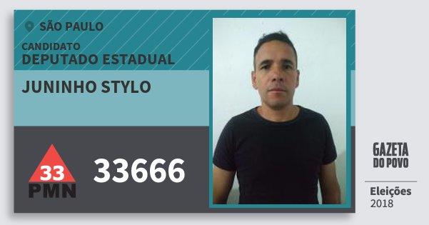 Santinho Juninho Stylo 33666 (PMN) Deputado Estadual   São Paulo   Eleições 2018