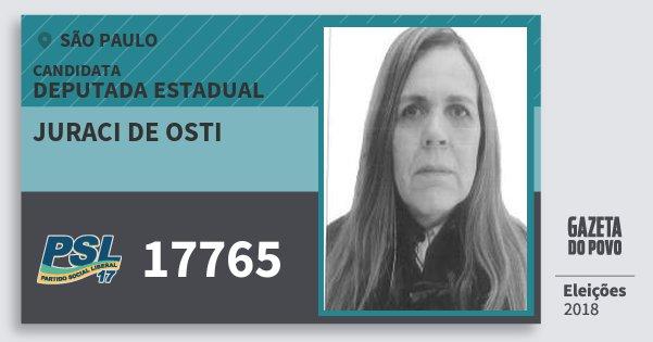 Santinho Juraci de Osti 17765 (PSL) Deputada Estadual | São Paulo | Eleições 2018