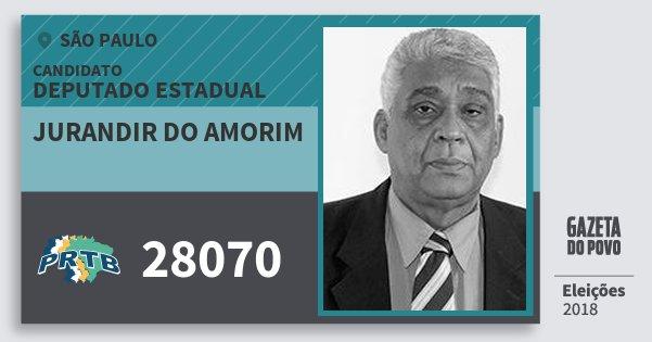 Santinho Jurandir do Amorim 28070 (PRTB) Deputado Estadual | São Paulo | Eleições 2018