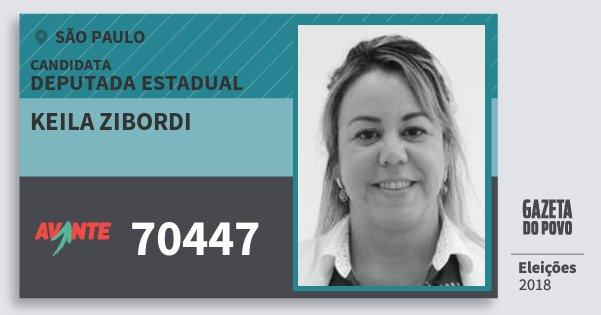 Santinho Keila Zibordi 70447 (AVANTE) Deputada Estadual | São Paulo | Eleições 2018