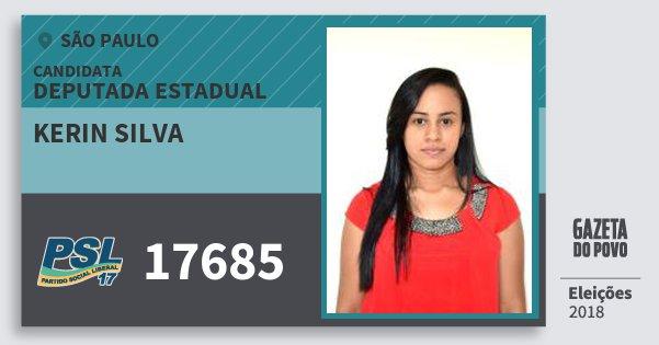 Santinho Kerin Silva 17685 (PSL) Deputada Estadual   São Paulo   Eleições 2018