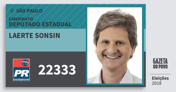 Santinho Laerte Sonsin 22333 (PR) Deputado Estadual | São Paulo | Eleições 2018