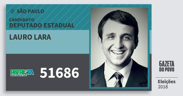 Santinho Lauro Lara 51686 (PATRI) Deputado Estadual   São Paulo   Eleições 2018