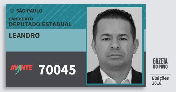 Santinho Leandro 70045 (AVANTE) Deputado Estadual | São Paulo | Eleições 2018