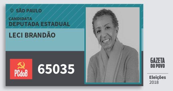 Santinho Leci Brandão 65035 (PC do B) Deputada Estadual | São Paulo | Eleições 2018