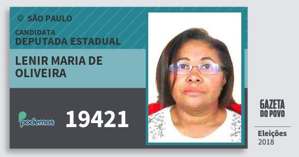 Santinho Lenir Maria de Oliveira 19421 (PODE) Deputada Estadual | São Paulo | Eleições 2018